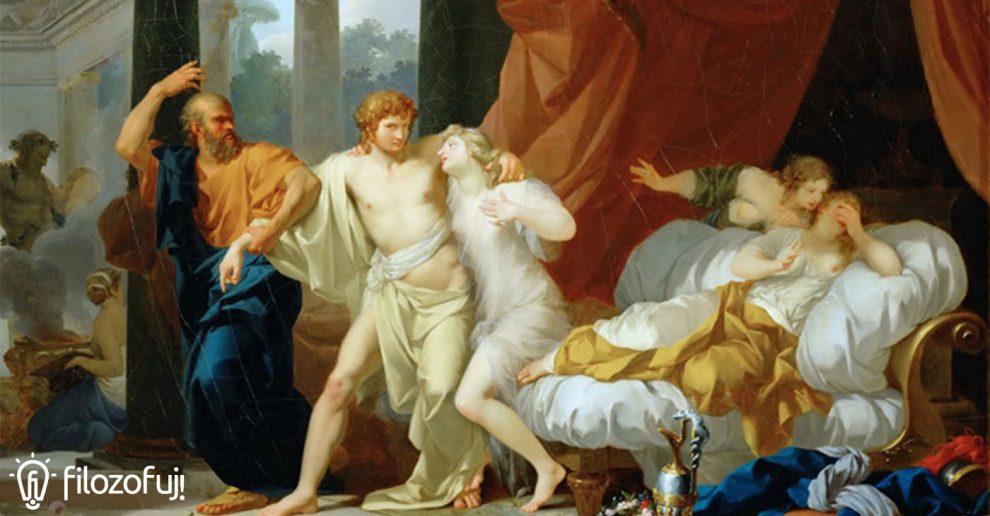Sokrates wyrywający Alcybiadesa z objęć zmysłowych uciech